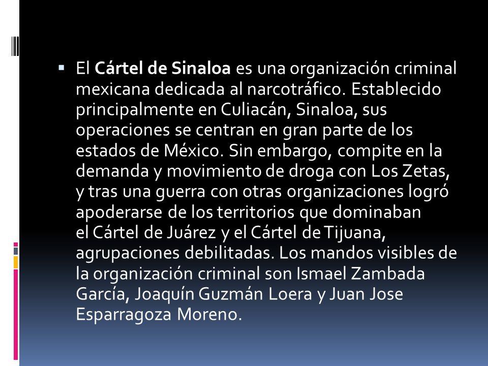 El Cártel de Sinaloa es una organización criminal mexicana dedicada al narcotráfico.