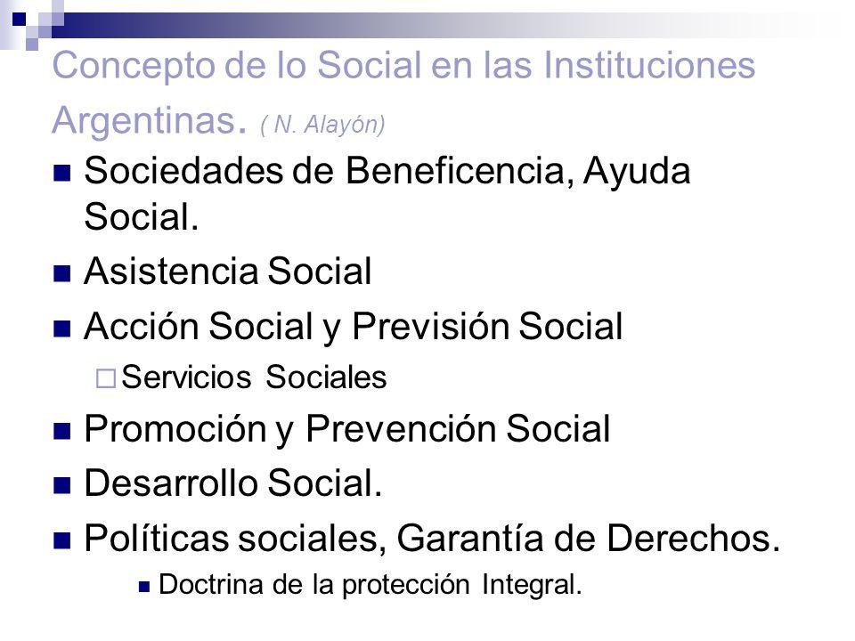 Concepto de lo Social en las Instituciones Argentinas. ( N. Alayón)