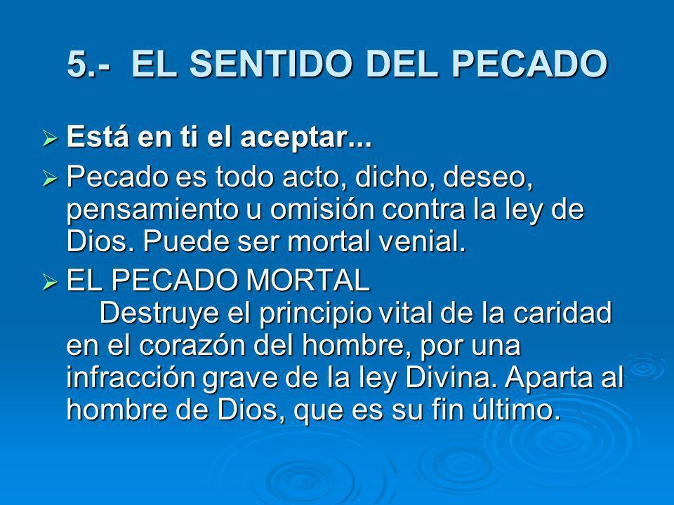 5.- EL SENTIDO DEL PECADO Está en ti el aceptar...
