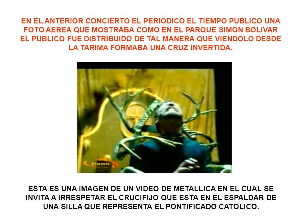 EN EL ANTERIOR CONCIERTO EL PERIODICO EL TIEMPO PUBLICO UNA FOTO AEREA QUE MOSTRABA COMO EN EL PARQUE SIMON BOLIVAR EL PUBLICO FUE DISTRIBUIDO DE TAL MANERA QUE VIENDOLO DESDE LA TARIMA FORMABA UNA CRUZ INVERTIDA.