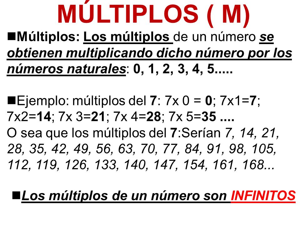 Los múltiplos de un número son INFINITOS