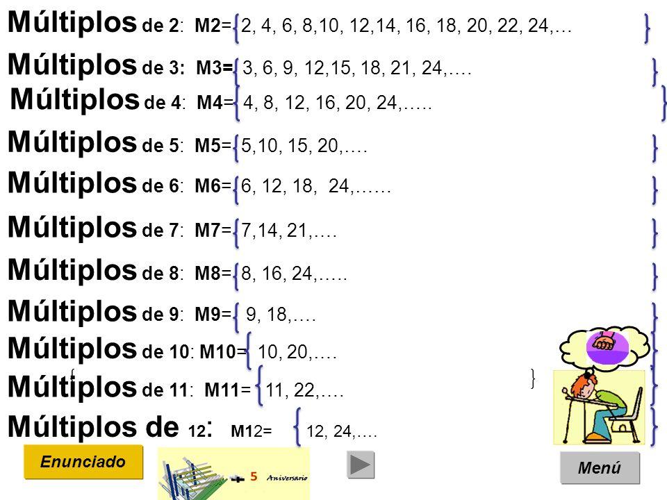 Múltiplos de 2: M2= 2, 4, 6, 8,10, 12,14, 16, 18, 20, 22, 24,… Múltiplos de 3: M3= 3, 6, 9, 12,15, 18, 21, 24,….