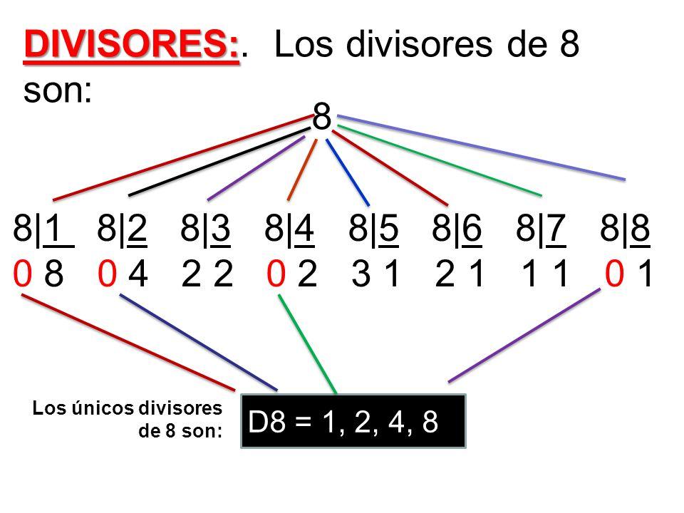 DIVISORES:. Los divisores de 8 son: