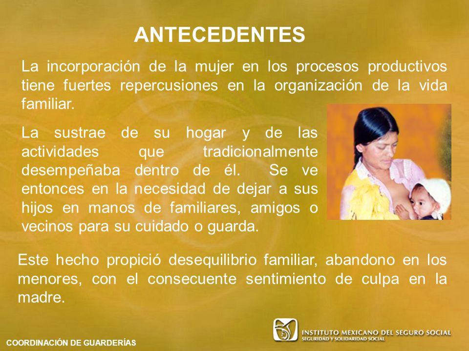 ANTECEDENTES La incorporación de la mujer en los procesos productivos tiene fuertes repercusiones en la organización de la vida familiar.