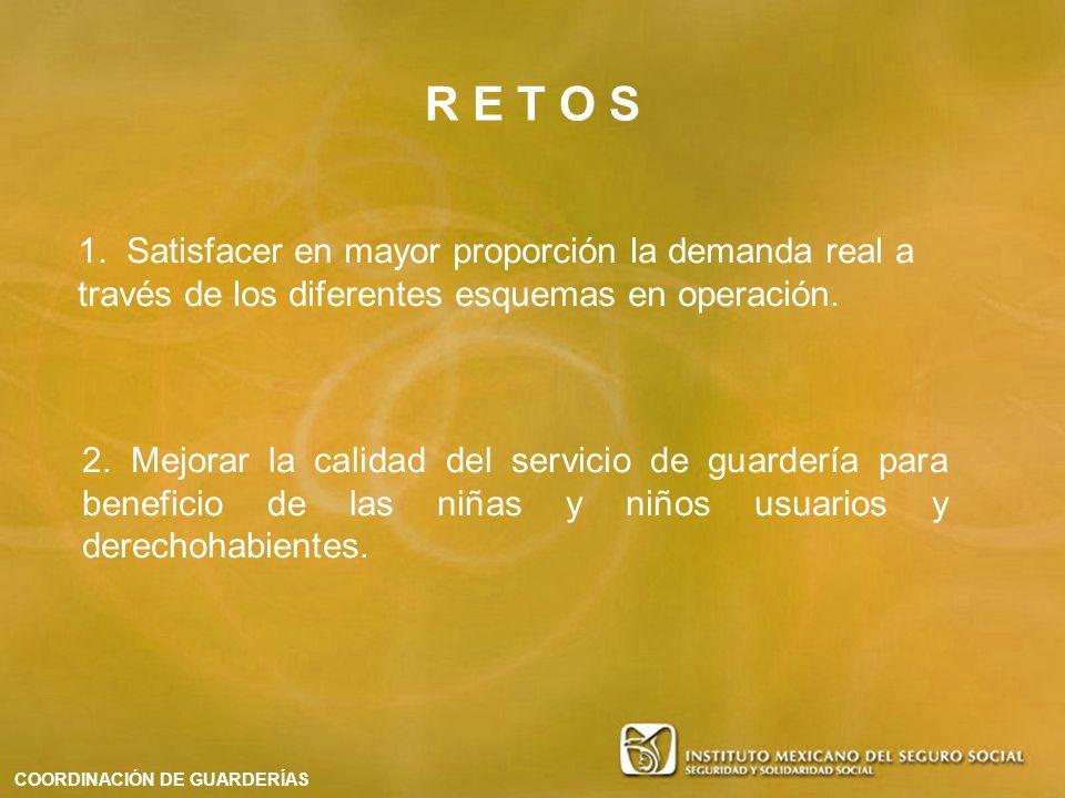 R E T O S 1. Satisfacer en mayor proporción la demanda real a través de los diferentes esquemas en operación.