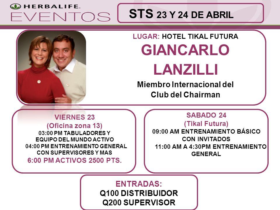 GIANCARLO LANZILLI STS 23 Y 24 DE ABRIL Miembro Internacional del