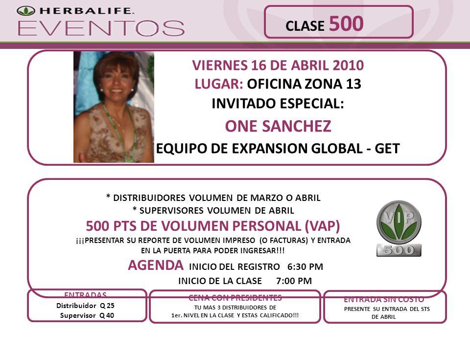 ONE SANCHEZ CLASE 500 VIERNES 16 DE ABRIL 2010 LUGAR: OFICINA ZONA 13