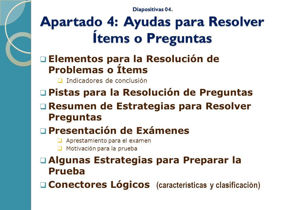 Diapositivas 04. Apartado 4: Ayudas para Resolver Ítems o Preguntas
