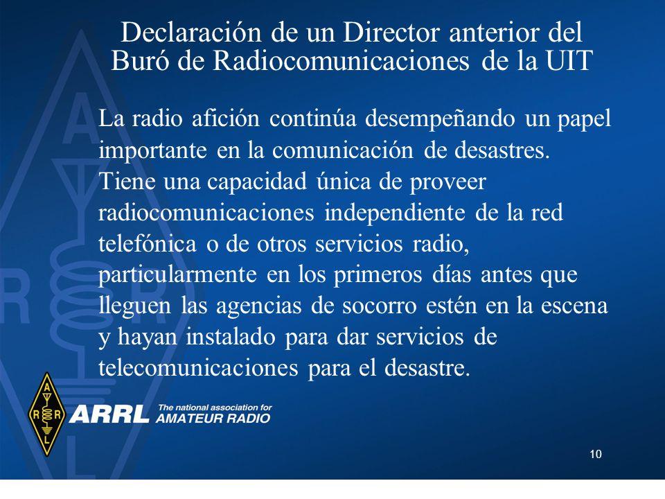 Declaración de un Director anterior del Buró de Radiocomunicaciones de la UIT
