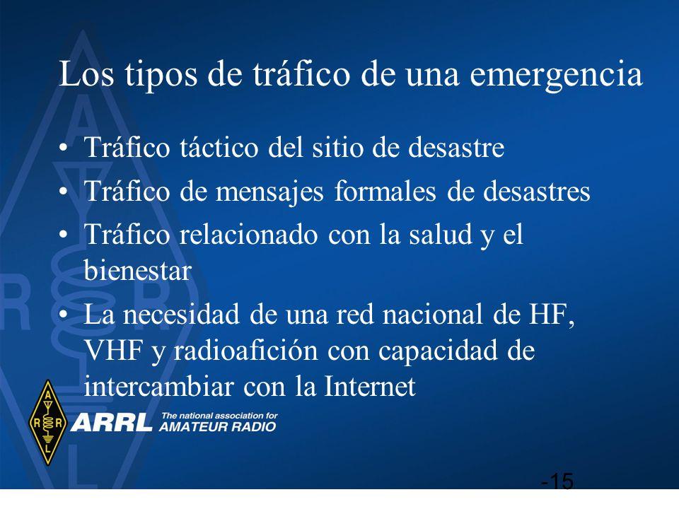 Los tipos de tráfico de una emergencia