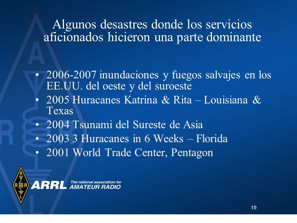 Algunos desastres donde los servicios aficionados hicieron una parte dominante