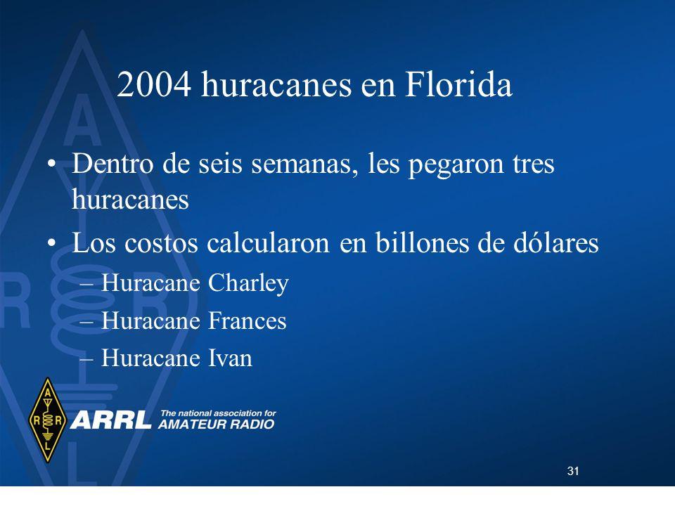 2004 huracanes en Florida Dentro de seis semanas, les pegaron tres huracanes. Los costos calcularon en billones de dólares.