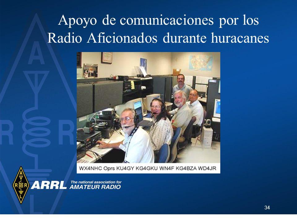 Apoyo de comunicaciones por los Radio Aficionados durante huracanes
