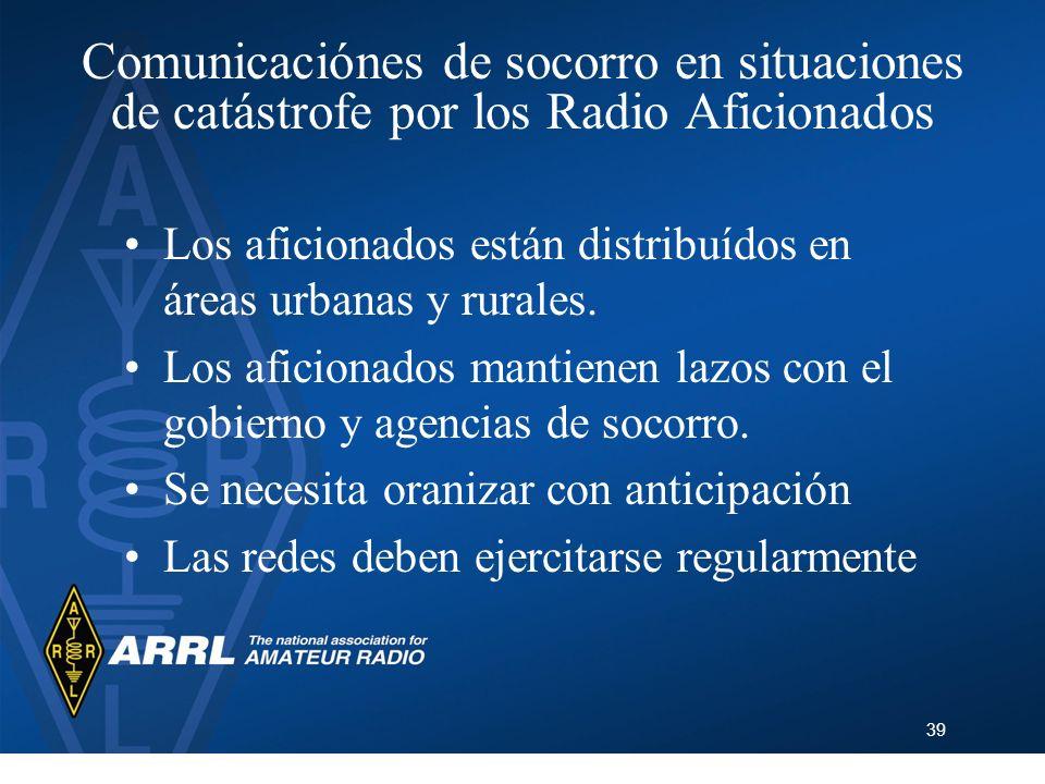 Comunicaciónes de socorro en situaciones de catástrofe por los Radio Aficionados