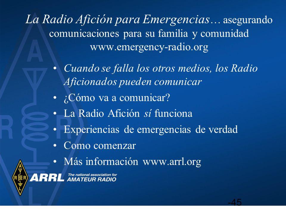 La Radio Afición para Emergencias… asegurando comunicaciones para su familia y comunidad www.emergency-radio.org