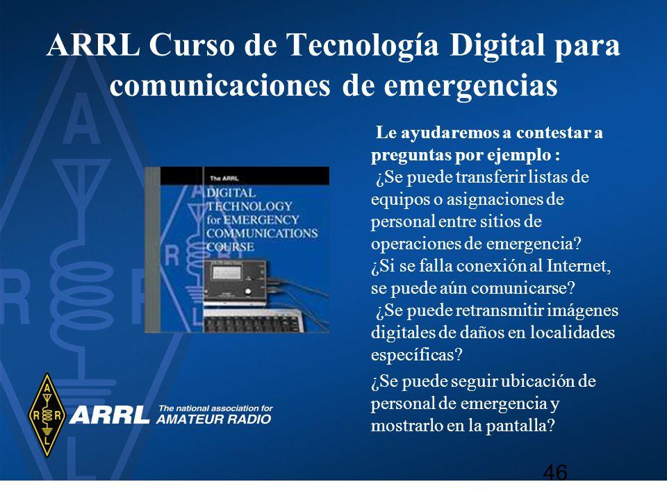 ARRL Curso de Tecnología Digital para comunicaciones de emergencias