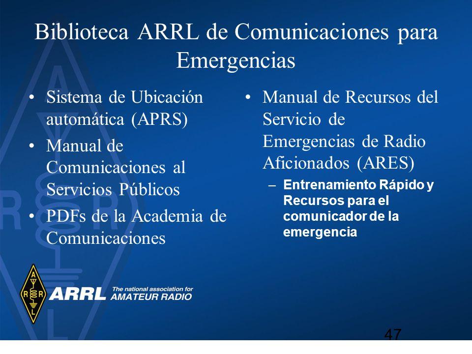 Biblioteca ARRL de Comunicaciones para Emergencias