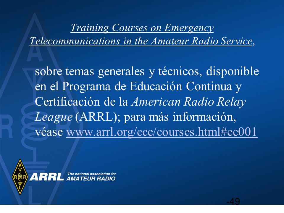 Training Courses on Emergency Telecommunications in the Amateur Radio Service,