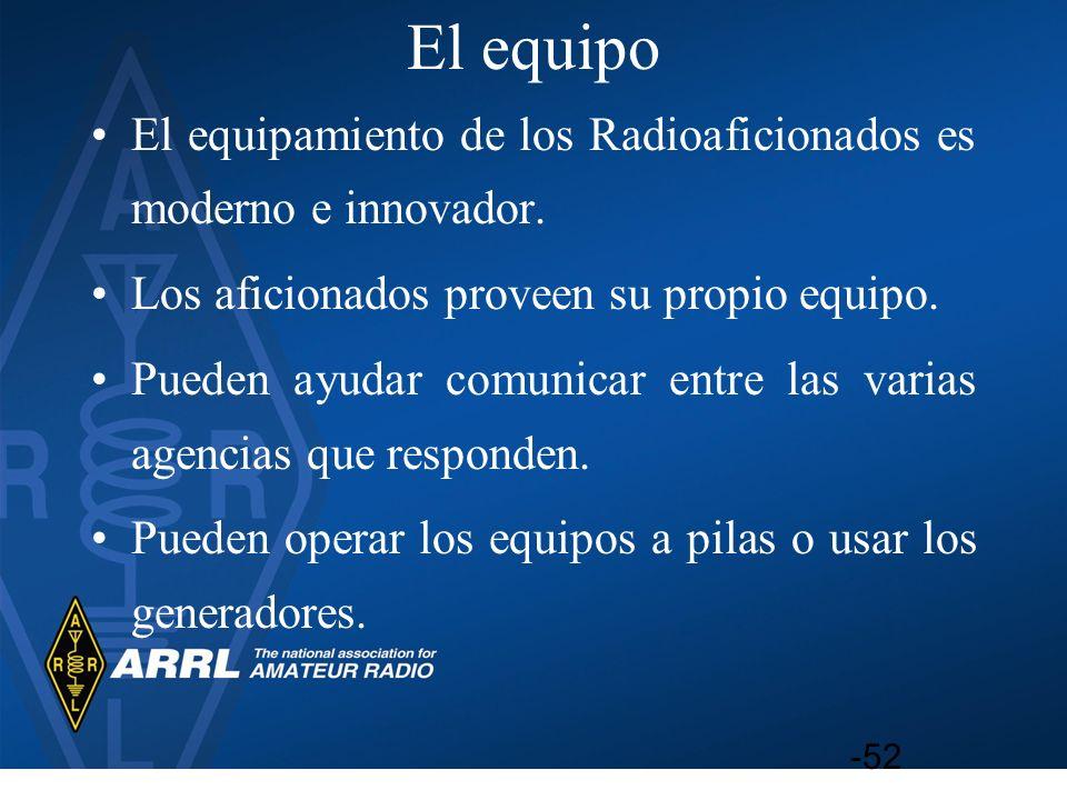 El equipo El equipamiento de los Radioaficionados es moderno e innovador. Los aficionados proveen su propio equipo.