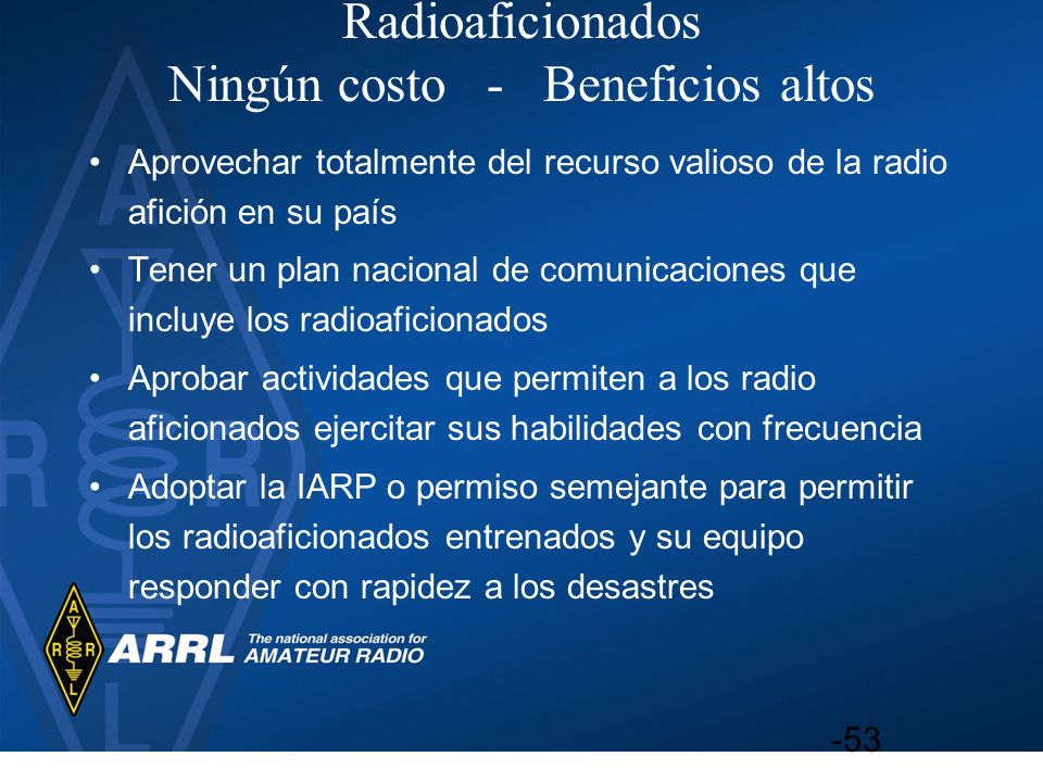 Radioaficionados Ningún costo - Beneficios altos