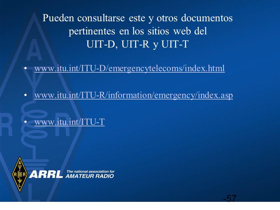 Pueden consultarse este y otros documentos pertinentes en los sitios web del UIT‑D, UIT‑R y UIT‑T