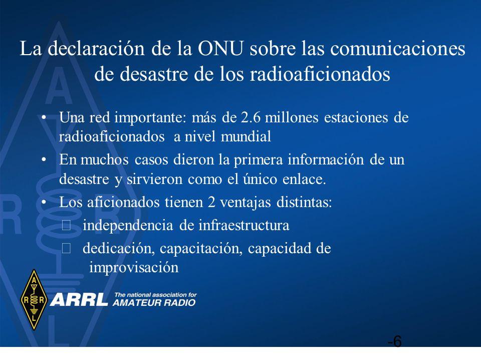 La declaración de la ONU sobre las comunicaciones de desastre de los radioaficionados