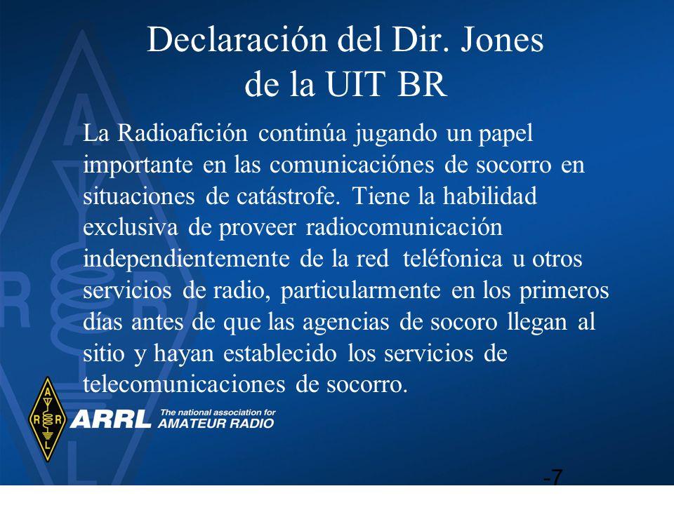 Declaración del Dir. Jones de la UIT BR
