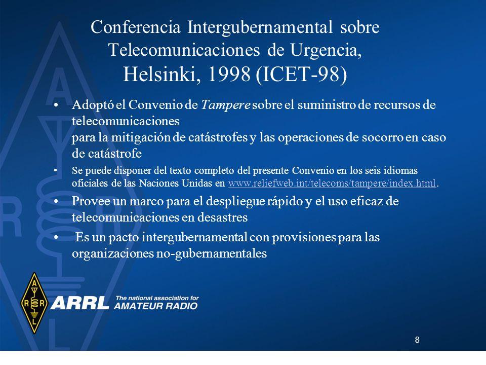 Conferencia Intergubernamental sobre Telecomunicaciones de Urgencia, Helsinki, 1998 (ICET-98)