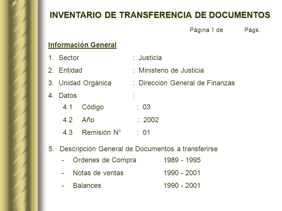 INVENTARIO DE TRANSFERENCIA DE DOCUMENTOS