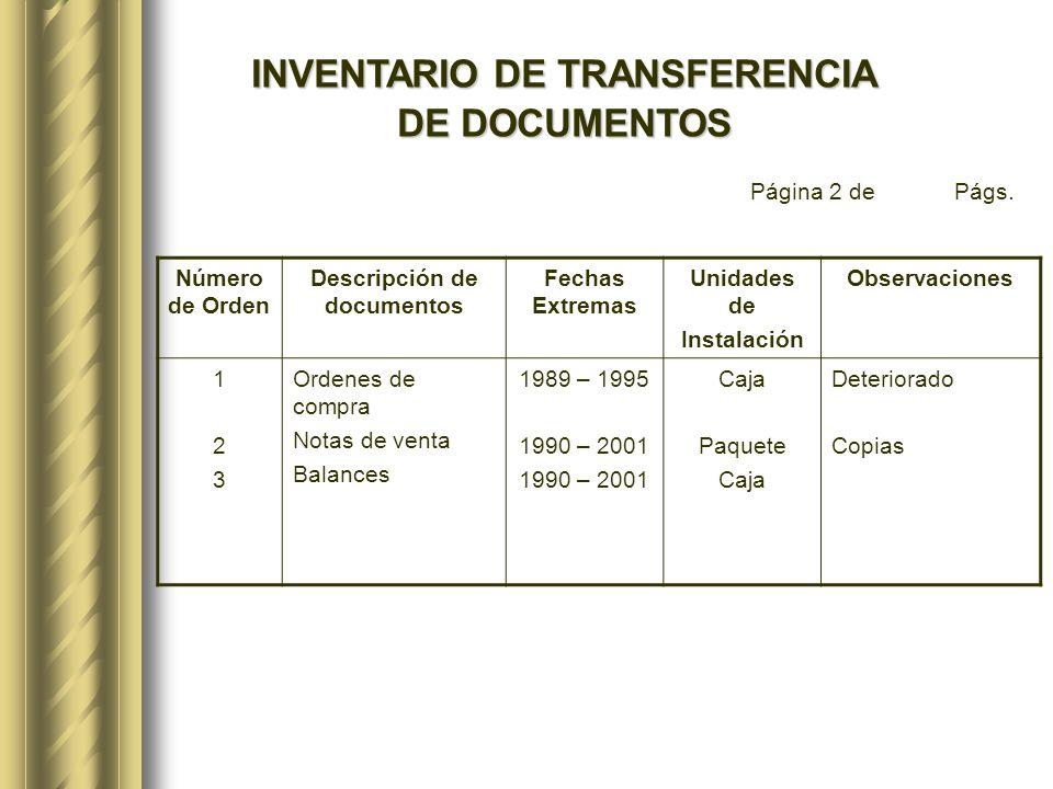 INVENTARIO DE TRANSFERENCIA Descripción de documentos