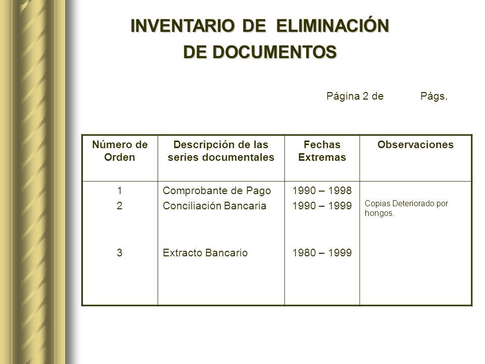 INVENTARIO DE ELIMINACIÓN Descripción de las series documentales
