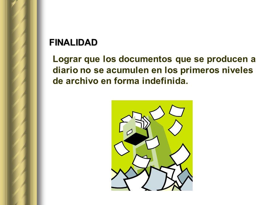FINALIDAD Lograr que los documentos que se producen a diario no se acumulen en los primeros niveles de archivo en forma indefinida.
