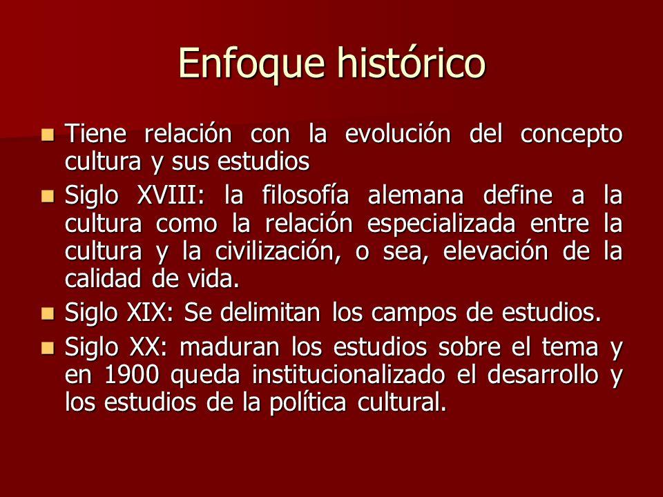 Enfoque histórico Tiene relación con la evolución del concepto cultura y sus estudios.