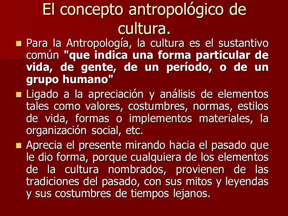 El concepto antropológico de cultura.