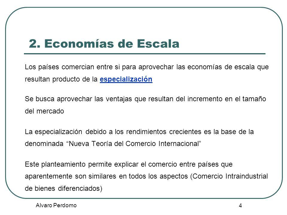 2. Economías de Escala Los países comercian entre si para aprovechar las economías de escala que resultan producto de la especialización.