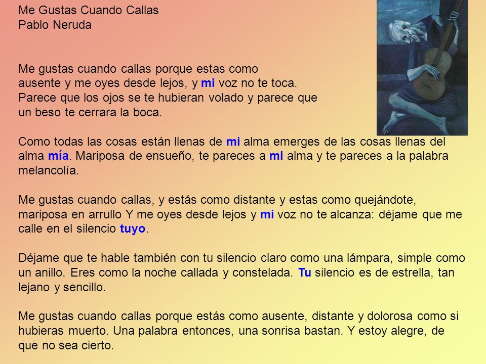 Me Gustas Cuando Callas Pablo Neruda