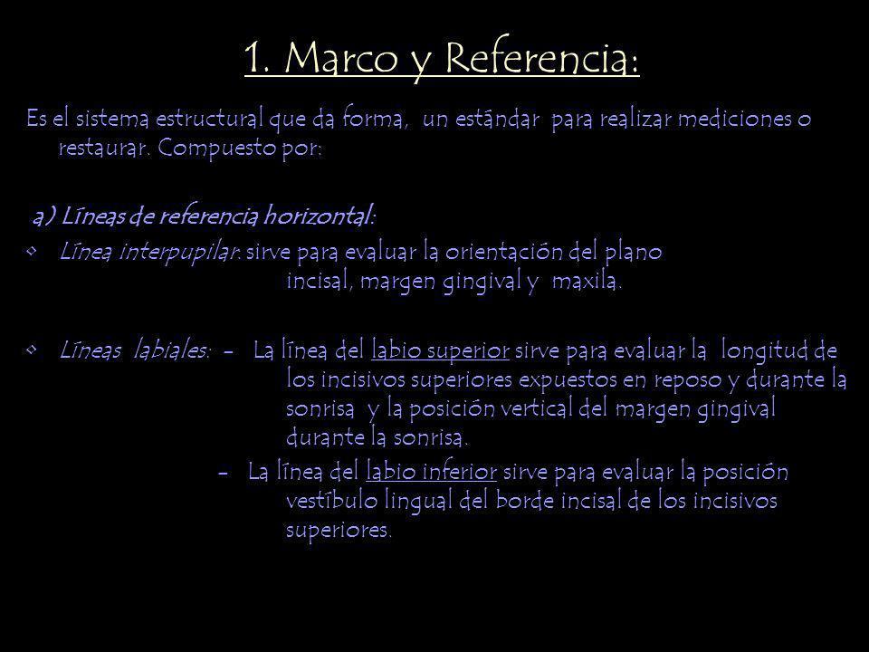 1. Marco y Referencia: Es el sistema estructural que da forma, un estándar para realizar mediciones o restaurar. Compuesto por: