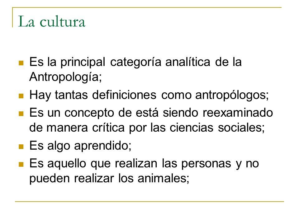 La cultura Es la principal categoría analítica de la Antropología;