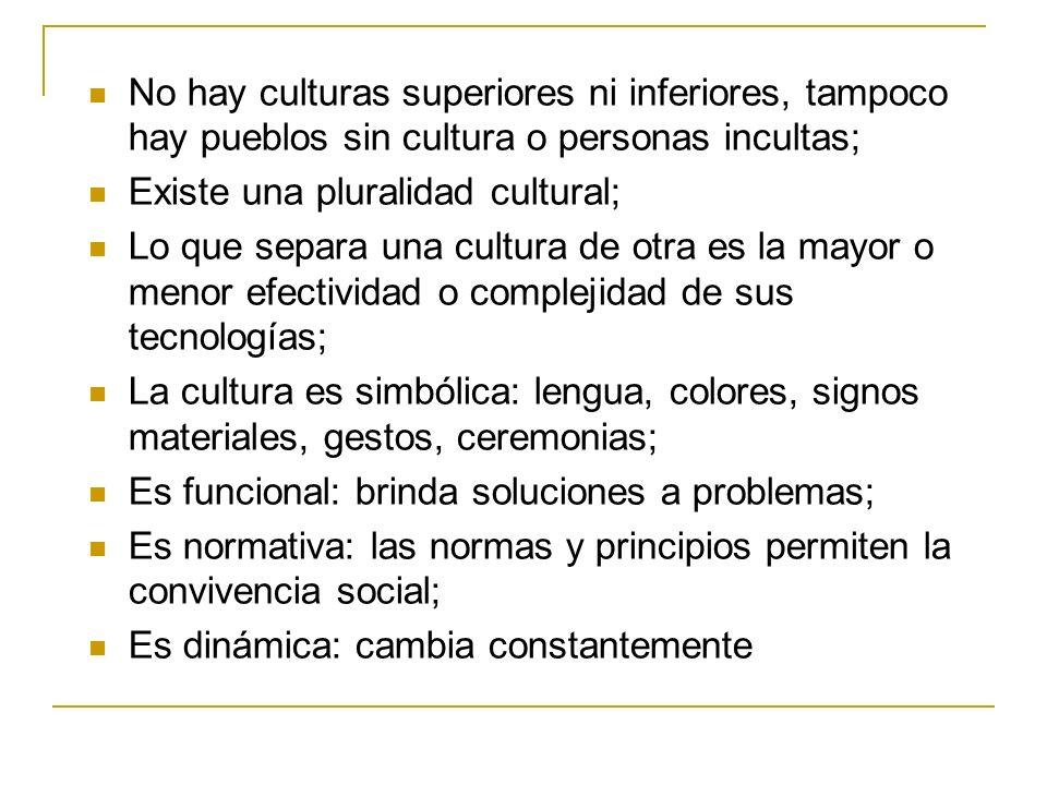 No hay culturas superiores ni inferiores, tampoco hay pueblos sin cultura o personas incultas;