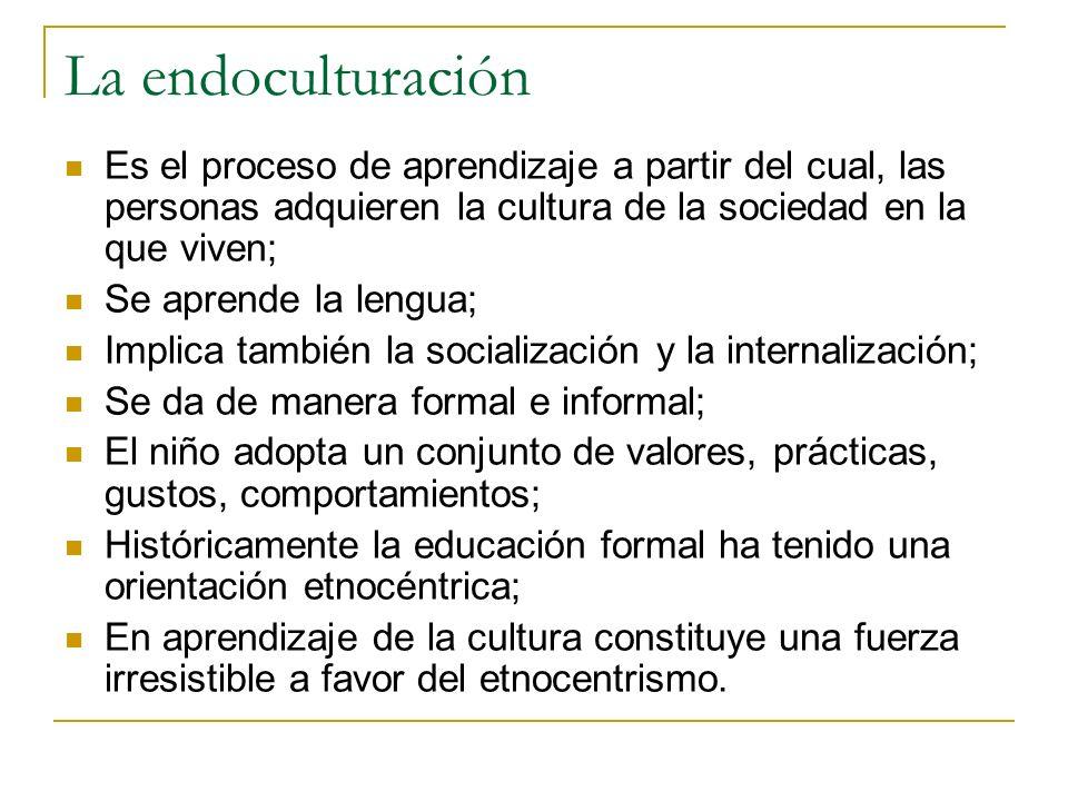 La endoculturación Es el proceso de aprendizaje a partir del cual, las personas adquieren la cultura de la sociedad en la que viven;
