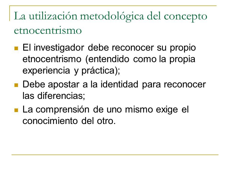 La utilización metodológica del concepto etnocentrismo