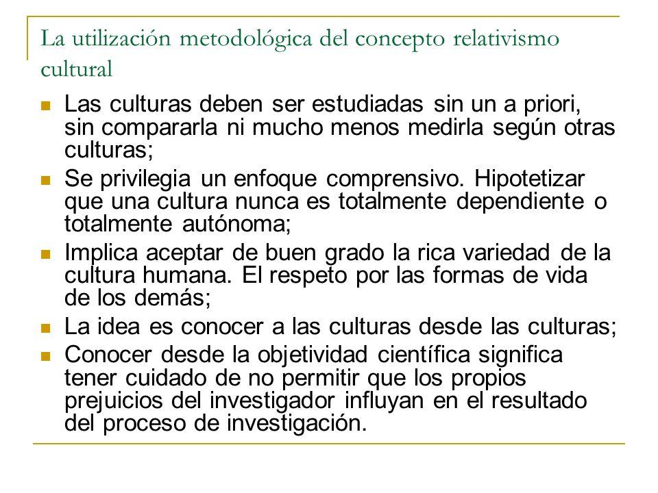 La utilización metodológica del concepto relativismo cultural