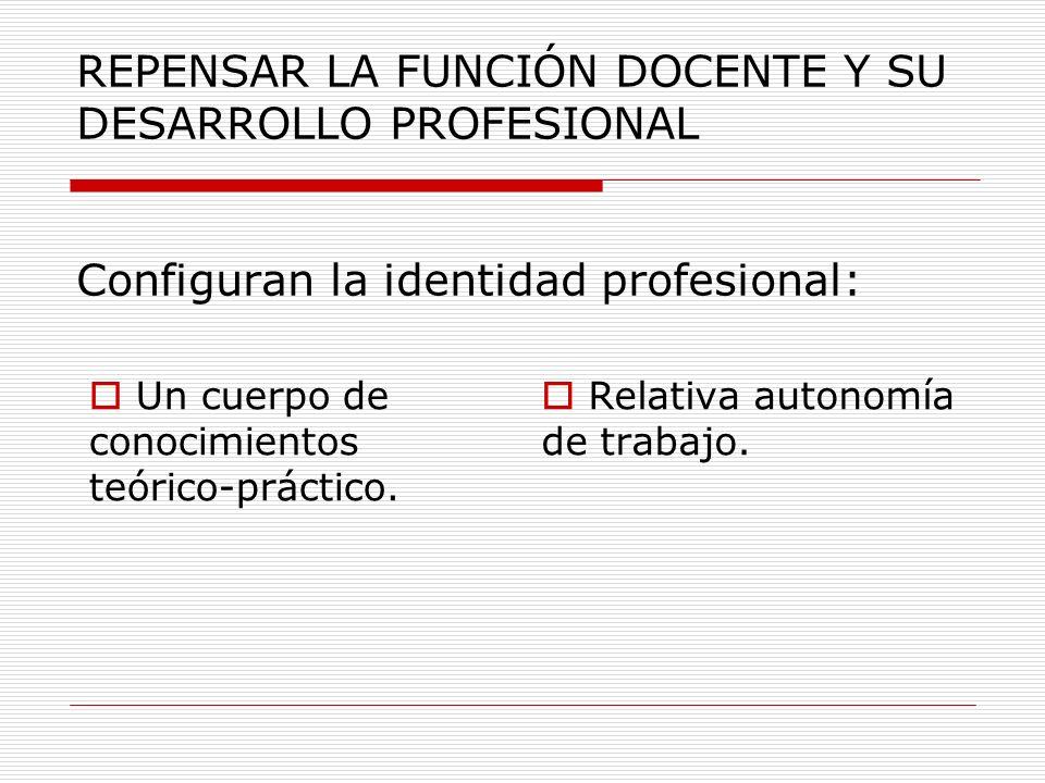 REPENSAR LA FUNCIÓN DOCENTE Y SU DESARROLLO PROFESIONAL Configuran la identidad profesional: