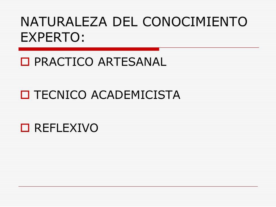 NATURALEZA DEL CONOCIMIENTO EXPERTO: