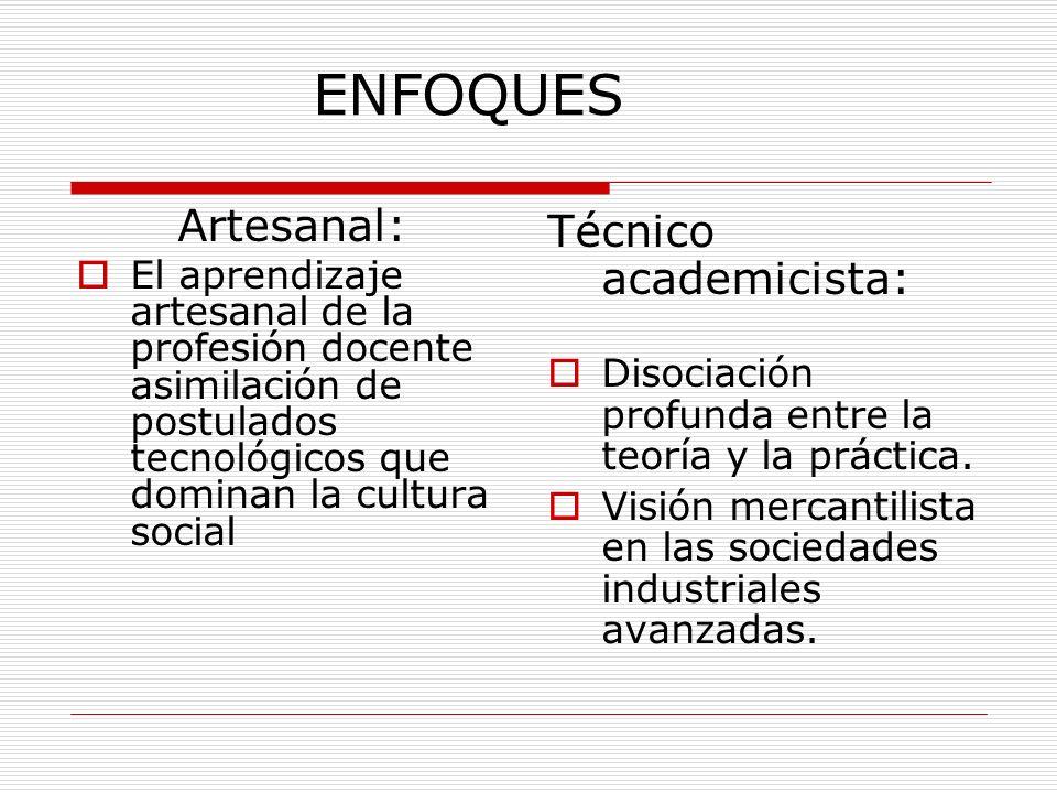 ENFOQUES Artesanal: Técnico academicista: