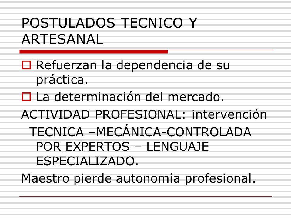 POSTULADOS TECNICO Y ARTESANAL