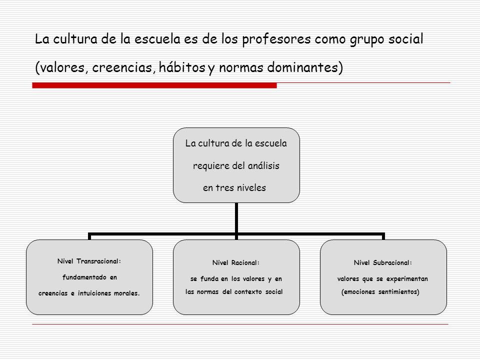 La cultura de la escuela es de los profesores como grupo social (valores, creencias, hábitos y normas dominantes)