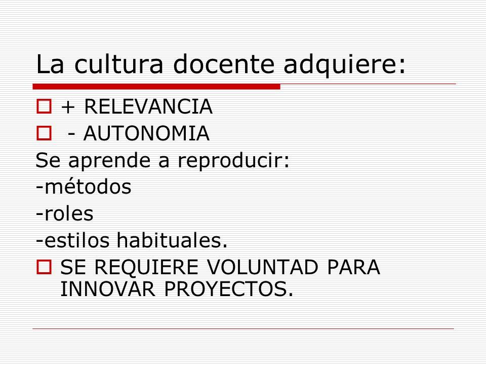 La cultura docente adquiere: