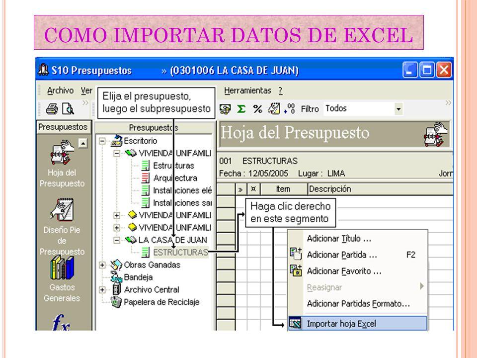 COMO IMPORTAR DATOS DE EXCEL