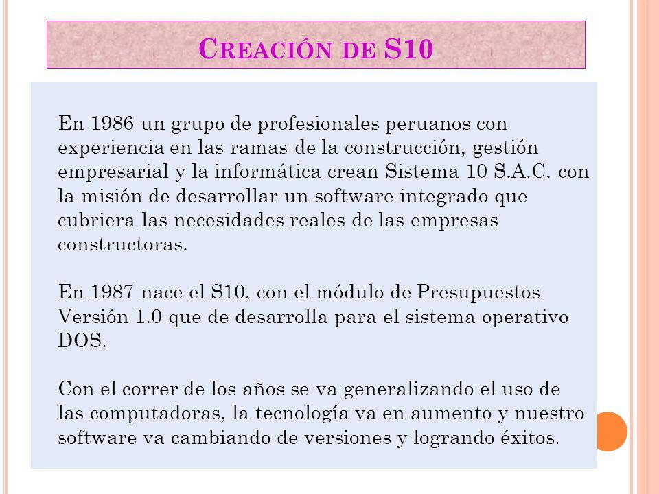 Creación de S10
